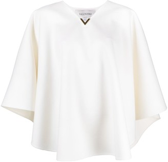 Valentino V-logo wool poncho