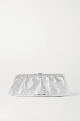 Balenciaga Cloud Large Logo-print Metallic Crinkled-leather Clutch - Silver