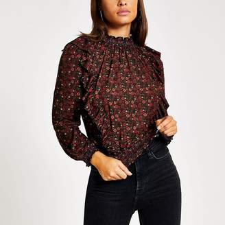 River Island Red floral frill long sleeve shirred top