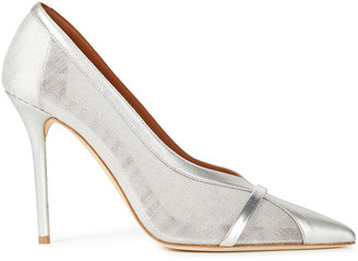 Malone Souliers Brook 100 Mesh And Metallic Leather Pumps