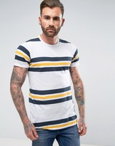 Pull&Bear T-Shirt With Panel Stripes In White