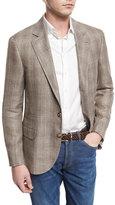 Brunello Cucinelli Plaid Linen-Blend Sport Coat, Oyster