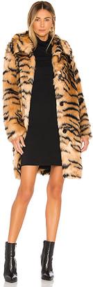 KENDALL + KYLIE Faux Fur Animal Print Coat