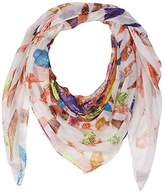 D&Y Women's Feather Print Square Scarf
