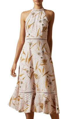 Ted Baker Floxyy Cabana Lace Detail Halter Dress