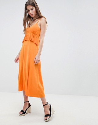 ASOS DESIGN slinky midi sundress with waist ruffle