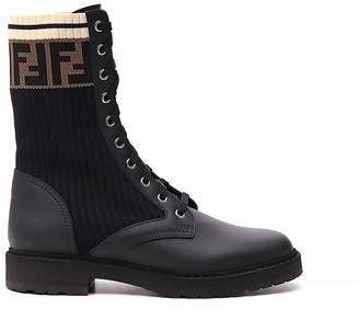 Fendi Rockoko FF Motif Combat Boots