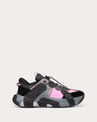 Valentino Garavani Uomo Vltn Wod Sneaker In Fabric, Calfskin And Suede Man Gray/lime Calfskin 100% 39