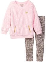 Juicy Couture Faux Fur Top & Leopard Print Pant Set (Toddler Girls)