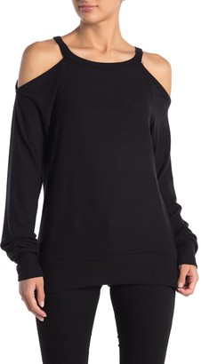 Go Couture Brushed Hacci Cold Shoulder Sweater