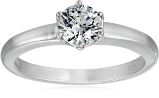 Amazon Collection Platinum-Plated Sterling Silver Solitaire Ring set with Round Swarovski Zirconia (1 cttw) Size 6