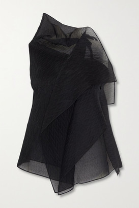 Roland Mouret Pasha Draped Silk-blend Organza-jacquard Top - Black
