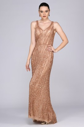 Gatsbylady London Sophie Maxi Prom Dress in Rose Gold