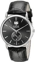 Edox LES BÈMONTS Unisex Watch BIG DATE Dial Analogue Display and Gold Leather 3 NIN 64012