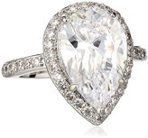 "Kenneth Jay Lane CZ by Classic"" Pear Cubic Zirconia Pave Frame Ring, Size 6, 6 CTTW"