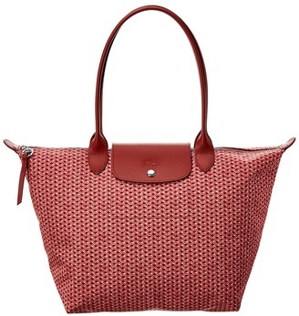 Longchamp Le Pliage Nylon & Leather Long Handle Tote