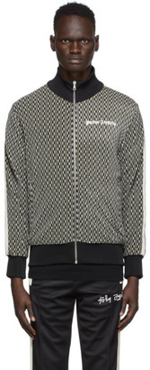 Palm Angels Black and Beige Houndstooth Track Jacket