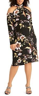 Rachel Roy Plus Simone Tropical Glimmer Knit Dress