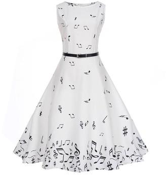 TUDUZ Women Dress Women 1950s Vintage Music Note Printing Bodycon Sleeveless Casual Cocktail Evening Party Prom Swing Dress (White XL)