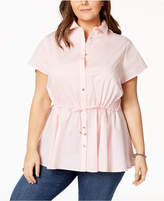 Tommy Hilfiger Plus Size Drawstring-Waist Blouse, Created for Macy's