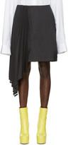 Facetasm Black Asymmetric Pinstripe Miniskirt