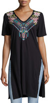 Johnny Was Embroidered Short-Sleeve Tee, Black