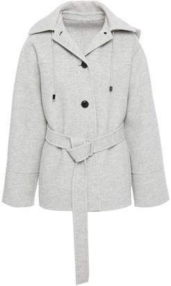 Joseph Cargo Belted Melange Wool-felt Hooded Coat