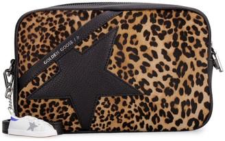 Golden Goose Star Bag Leather And Leopard Pony Hide Shoulder Bag