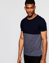 Boss Orange T-shirt With Colour Block Regular Fit In Navy