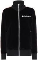 Palm Angels Logo velvet track jacket