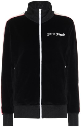 Palm Angels Logo velvet track jacket