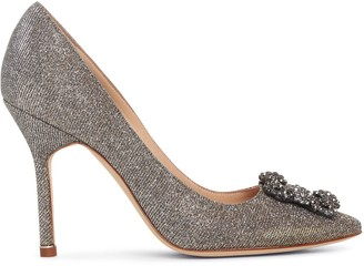 Manolo Blahnik Hangisi 105 dark gold glitter pumps