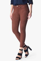 7 For All Mankind Knee Seam Skinny In Suede Cognac