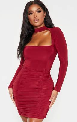 PrettyLittleThing Shape Burgundy Long Sleeve Cut Out Ruched Bodycon Dress