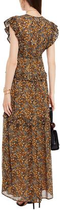 BA&SH Samanta Ruffled Printed Georgette Maxi Dress