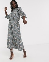 Never Fully Dressed midaxi skater dress with baloon sleeve detail in blue floral print