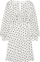 Miu Miu Printed Silk-crepe Mini Dress - White