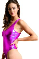 Fashion Queen Shiny Metallic Ladies Bodysuit Stretchy High Cut Dance Leotard Swimsuit