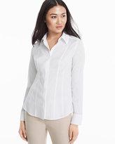White House Black Market Wrinkle-Free Long-Sleeve White Poplin Shirt
