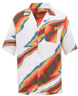 Missoni Zig-zag Print Short Sleeve Satin Shirt - White Multi