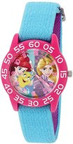 Disney Girl's 'Rapunzel' Quartz Plastic and Nylon Automatic Watch, Color:Blue (Model: W002956)