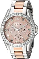 Fossil Women's ES4145 Riley Multifunction Two-Tone Stainless Steel Watch