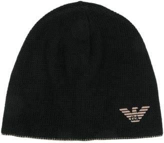 Emporio Armani logo knit beanie
