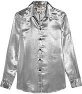 Saint Laurent Silk-blend Lamé Shirt - Silver