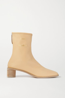 Acne Studios Logo-print Leather Ankle Boots - Beige