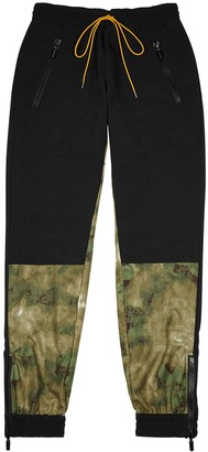 Rhude Black camouflage-panelled shell sweatpants