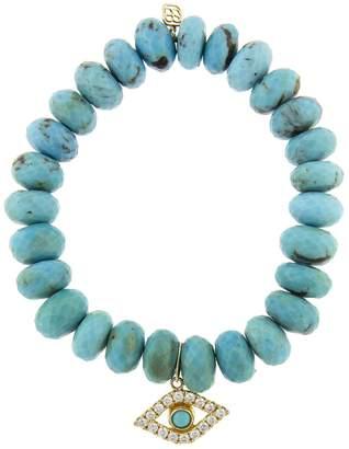 Sydney Evan Extra Large Bezel Evil Eye Charm On Turquoise Beaded Bracelet