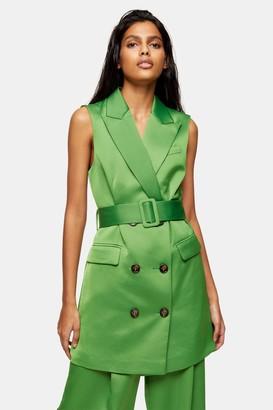 Topshop Green Satin Suit Blazer