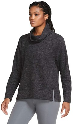 Nike Therma Fleece HPNLT Pullover Cowl Top (Black Heather/Black) Women's Clothing