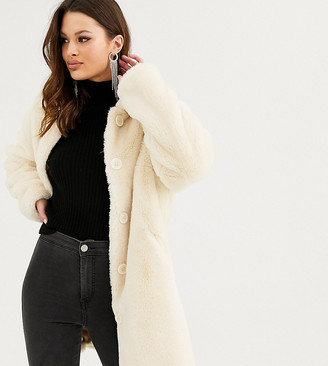 Asos DESIGN Tall faux fur button through coat in cream